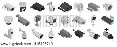 Security Cameras Isolated Isometric Set Icon. Vector Illustration Cctv On White Background. Vector I