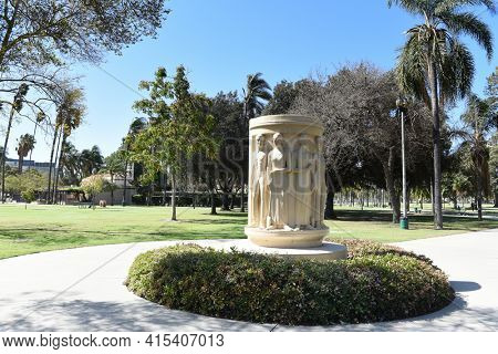 ANAHEIM, CALIFORNIA - 31 MAR 2021: Pearson Park Monument to Helena Modjeska a Polish Actress who emigrated to Anaheim in 1876.