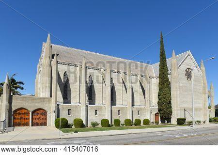 ANAHEIM, CALIFORNIA - 31 MAR 2021: The First Presbyterian Church on Broadway.