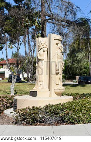 ANAHEIM, CALIFORNIA - 31 MAR 2021: Pearson Park Monument to Helena Modjeska a Polish Actress who emigrated to Anaheim in 1876.