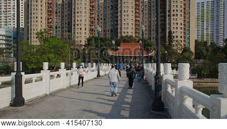 Sha Tin, Hong Kong 14 March 2021: Central park in Sha Tin of Hong Kong