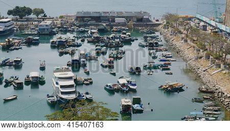 Yau Tong, Hong Kong 30 January 2021: Hong Kong typhoon shelter and pier