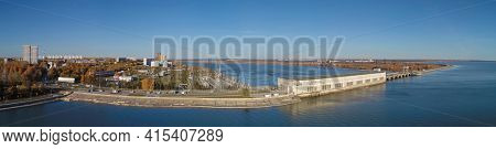 Aerial view of town Novosibirsk and hydroelectric power plant station on the Ob River. Novosibirsk, Siberia, Russia
