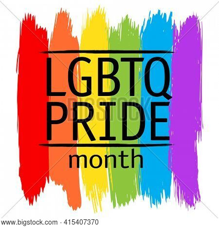 LGBTQ pride month card with LGBTQ flag drawing by dry brush strokes, rasterized version