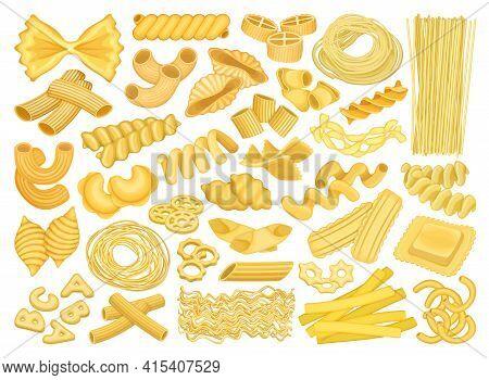 Pasta Isolated Cartoon Set Icon. Vector Illustration Italian Macaroni On White Background. Vector Ca