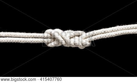 Ship White Ropes Tied Knot . High Quality And Resolution Beautiful Photo Concept
