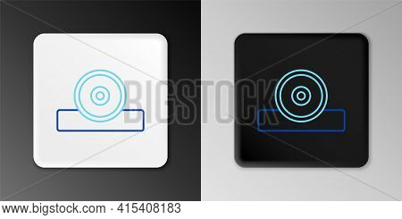 Line Otolaryngological Head Reflector Icon Isolated On Grey Background. Equipment For Inspection The