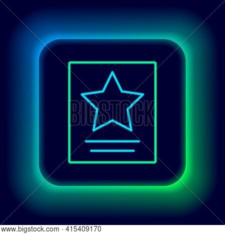 Glowing Neon Line Hollywood Walk Of Fame Star On Celebrity Boulevard Icon Isolated On Black Backgrou