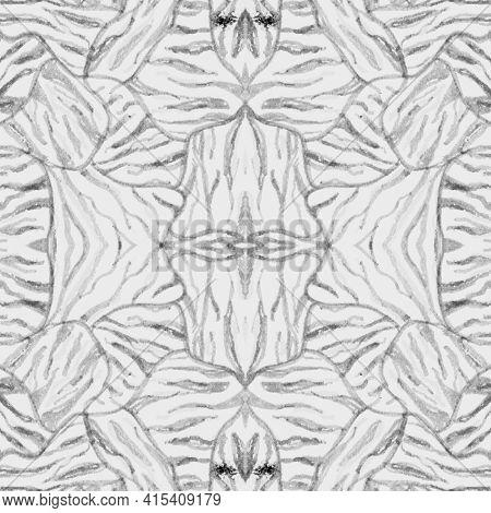 Seamless Zebra Texture. Watercolor African Fur. Gray Zoo Background. Jungle Lines Fabric. Zebra Patt