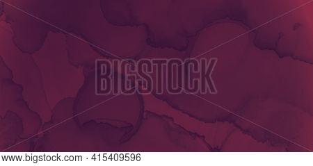 Color Wine Splash. Watercolor Winery Texture. Modern Burgundy Banner. Dark Maroon Texture. Red Wine