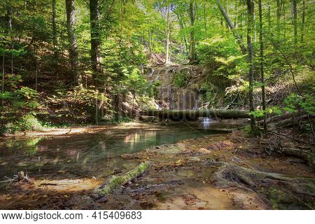 Mountain Stream In Cheile Nerei Beusnita National Park, Romania