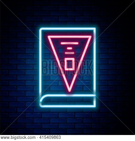 Glowing Neon Line 26 November India Constitution Day Icon Isolated On Brick Wall Background. Colorfu