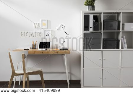 Neat Tidy Workspace With Tablet Desk . High Quality And Resolution Beautiful Photo Concept