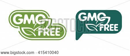 Gmo Free Green Bubble - Label With Leaf And Text, For Genetically Unmodified Products Packaging
