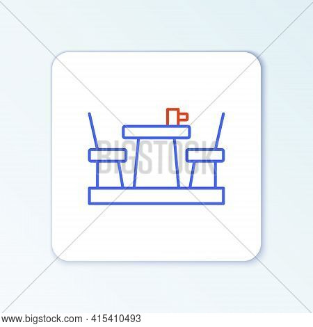 Line French Cafe Icon Isolated On White Background. Street Cafe. Table And Chairs. Colorful Outline
