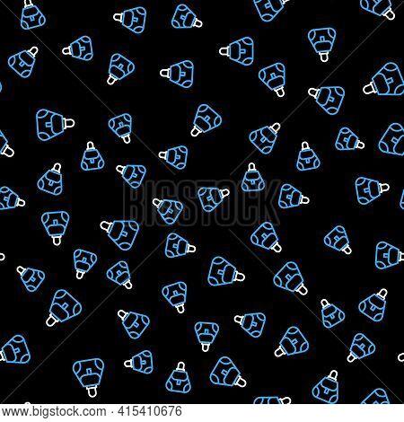 Line Handbag Icon Isolated Seamless Pattern On Black Background. Female Handbag Sign. Glamour Casual