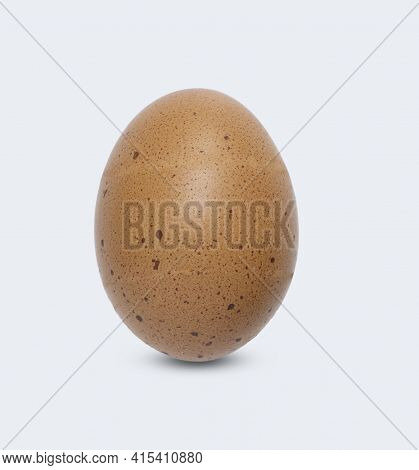 One Brown Chicken Egg With Black Spot, Isolated On White Background And Clipping Path