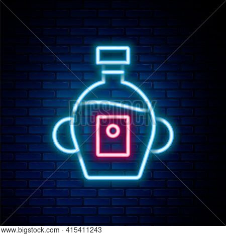 Glowing Neon Line Bottle Of Maple Syrup Icon Isolated On Brick Wall Background. Colorful Outline Con