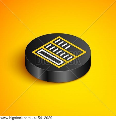 Isometric Line Brochure Template Layout Icon Isolated On Yellow Background. Corporate Business Annua