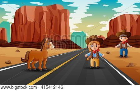 Road Scene With Cowboy Nd Cowgirl Standing