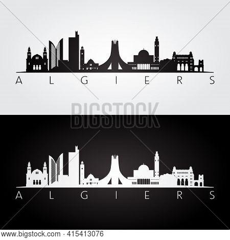 Algiers, Algeria Skyline And Landmarks Silhouette, Black And White Design, Vector Illustration.