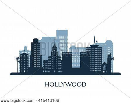 Hollywood Skyline, Monochrome Silhouette. Stock Vector Illustration.