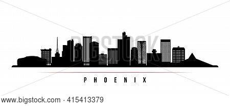 Phoenix Skyline Horizontal Banner. Black And White Silhouette Of Phoenix, Arizona. Vector Template F