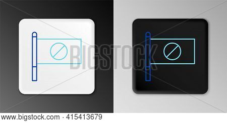 Line Protest Icon Isolated On Grey Background. Meeting, Protester, Picket, Speech, Banner, Protest P