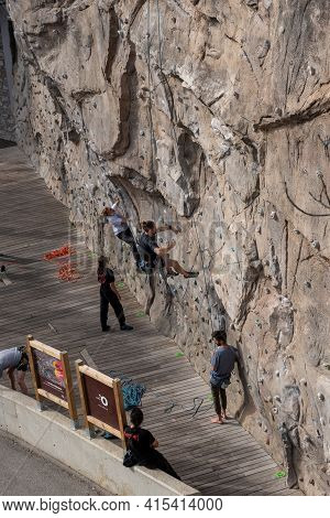 Ordino, Andorra: 2021 March 30: Spring Climbing Wall In Ordino, Andorra In The Pyrenees In 2021.