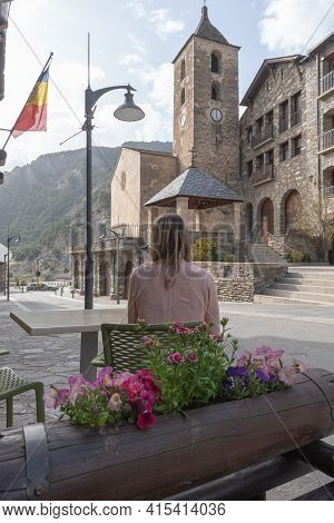 Ordino, Andorra: 2021 March 30: Woman In The Bar In Spring In Ordino, Andorra In The Pyrenees In 202