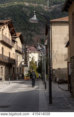 Ordino, Andorra: 2021 March 30: People Walking Down The Street In Spring In Ordino, Andorra In The P