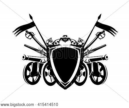Antique Cannon Gun And Sabre Sword By Heraldic Shield Decorated With Flags And Rose Flowers - Armour