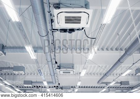 Ceiling Mounted Cassette Type Air Condition Units With Other Parts Of Ventilation System Located Ins