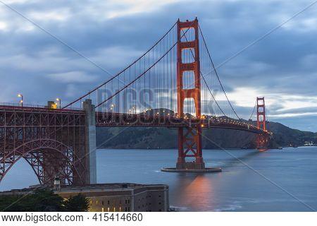 Beautiful Scene Of Golden Gate Bridge Looking From Battery East Trail In San Francisco, California.