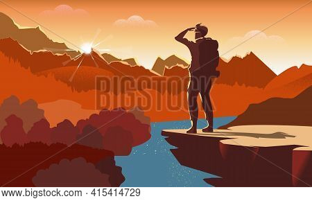 Traveller Or Explorer With Backpack, Standing On Top Of Mountain Or Cliff And Looking On Valley. Vec