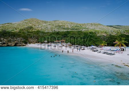 View Of The White Beach Grote Knip, Curacao, Netherlands With A Blue Ocean Curacao Caribbean Island