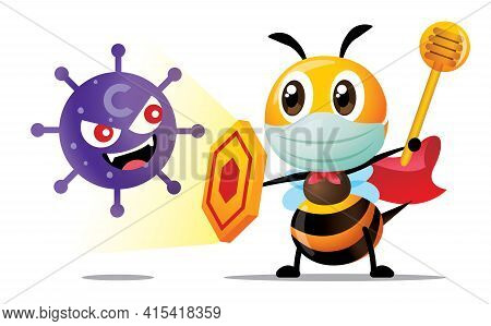 Fight Virus. Cartoon Cute Superhero Bee Wearing Surgical Mask And Holding Shield And Honey Dipper To
