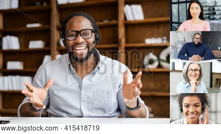 Online Business Training Concept. Smart And Confident African-american Coach Leading Video Conferenc
