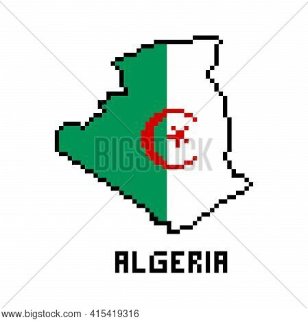 People's Democratic Republic Of Algeria, 2d 8 Bit Pixel Art North African Country Map With Flag Isol