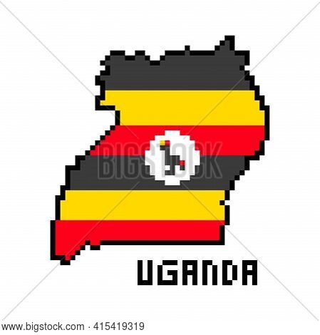 Republic Of Uganda, 2d 8 Bit Pixel Art African Country Map With Flag Isolated On White Background. O