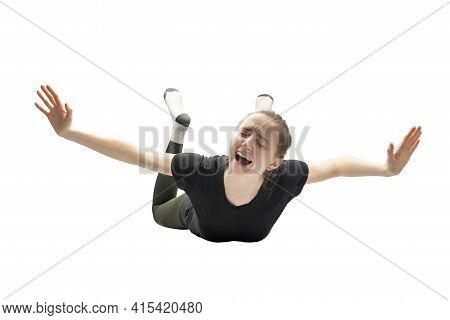 Woman Falling From Height Isolated On White Background. Falling In Dream Concept, Nightmares