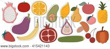 Rustic Fruits Vegetables In Set Are Isolated White Background. Varied Food Vegetarians And Day Diete