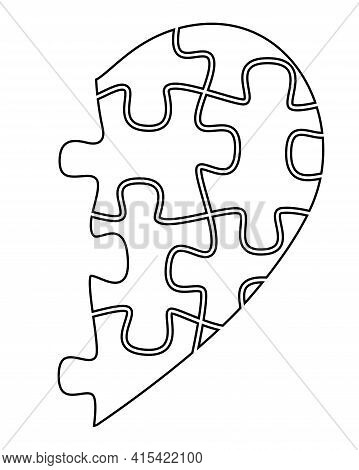 Half Heart From Puzzles - Vector Linear Illustration With Editable Outline. Outline. Black And White