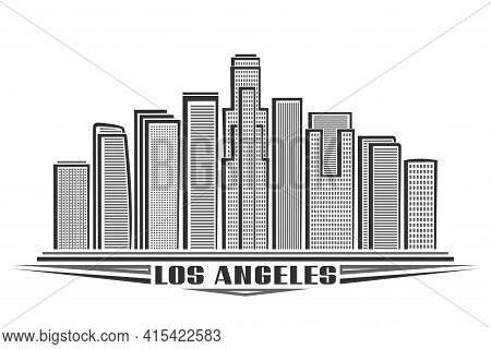 Vector Illustration Of Los Angeles, Monochrome Horizontal Poster With Outline Design American City S
