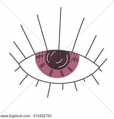 The All-seeing Eye For Palmistry Is Isolated On White Background. Flat Illustration With Lines. Esot