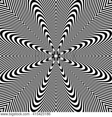 Abstract Lines Pattern With Striped Texture. Vector Art.