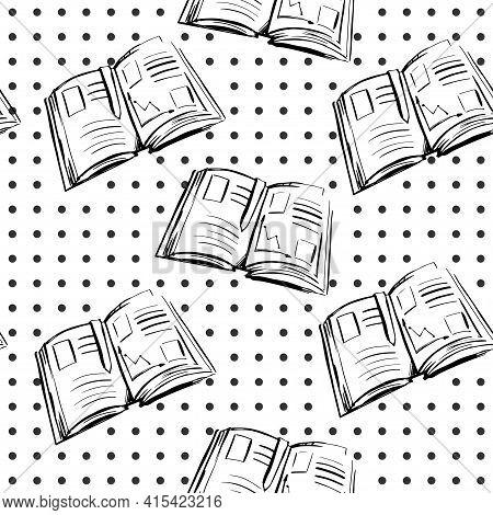 School Textbook Black Line Illustration On White Background. School Supplies Illustration Seamless P