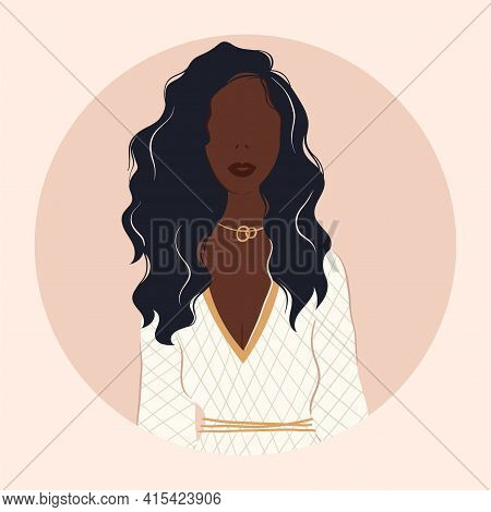 Flat Vector Illustration Of A Cheerful Modern Fashionable Girl. Strong Beautiful Independent Woman D