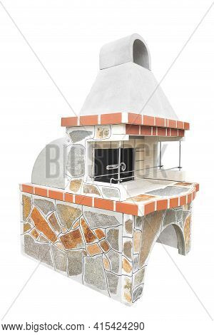 Large Barbecue Open Fireplace With Built-in Furnace For Cookout Food. Outdoor Bbq Grill. Open Summer
