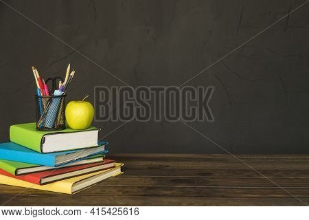 Stationary Apple Pile Books Table. High Quality And Resolution Beautiful Photo Concept